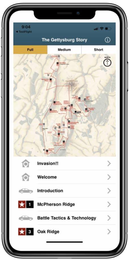 HereStory Gettysburg Driving Tour App
